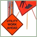 """Forester 48"""" Vinyl Professional Grade Work Sign - Utility Work Ahead"""
