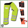 """Forester 35"""" Short Wrap Around Slap Chap Velcro Chainsaw Chaps - Safety Green"""
