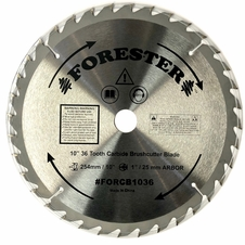 "Forester 36 Tooth Carbide Tip Brush Cutter Blade - 10"" x 1"" / 20mm Arbor"
