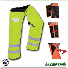 """Forester 37"""" Regular Wrap Around Slap Chap Velcro Chainsaw Chaps - Safety Green"""
