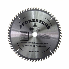 "Forester 60 Tooth Carbide Tip Brush Blade - 10"" x 1"" / 20mm Arbor -  FORCB1060"