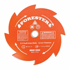 "Forester 8 Tooth Brush Cutter Blade - 8"" Diameter x 1"" or 20mm Arbor"