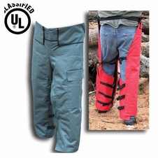 "Forester Adjustable Length 35""-42"" Wrap Around Chainsaw Chaps - Forest Green"