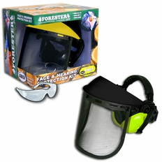 Forester Black/Safety Green Face & Hearing Protection Kit