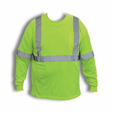 Forester Hi-Vis Class 2 Long Sleeve T-Shirt - Safety Green