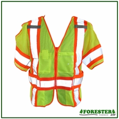 Forester Class 3 5-Point Tear Away Zippered Front Safety Vest - Vest29