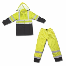 Forester Class 3 Hi-Vis Green Rain Suit w/ Black Bottoms