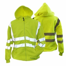 Forester Double Weight Class 3 Hi-Vis Zippered Hooded Sweatshirt - 028019