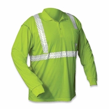 Forester Hi-Vis Class 2 Long Sleeve Polo Shirt - Safety Green