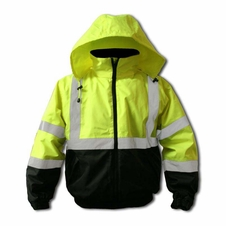 Forester Hi-Vis Insulated Bomber Jacket - Safety Green