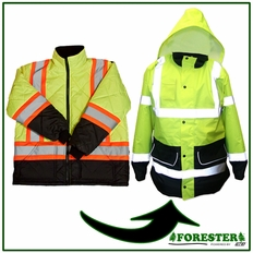 Forester Hi-Vis Insulated Puff Jacket / Long Parka Set - Safety Green w/ Black Wear Areas