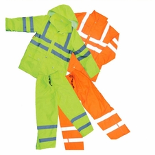 Forester Hi-Vis Lined Class 3 Safety Rain Suit w/ Hood - Safety Green