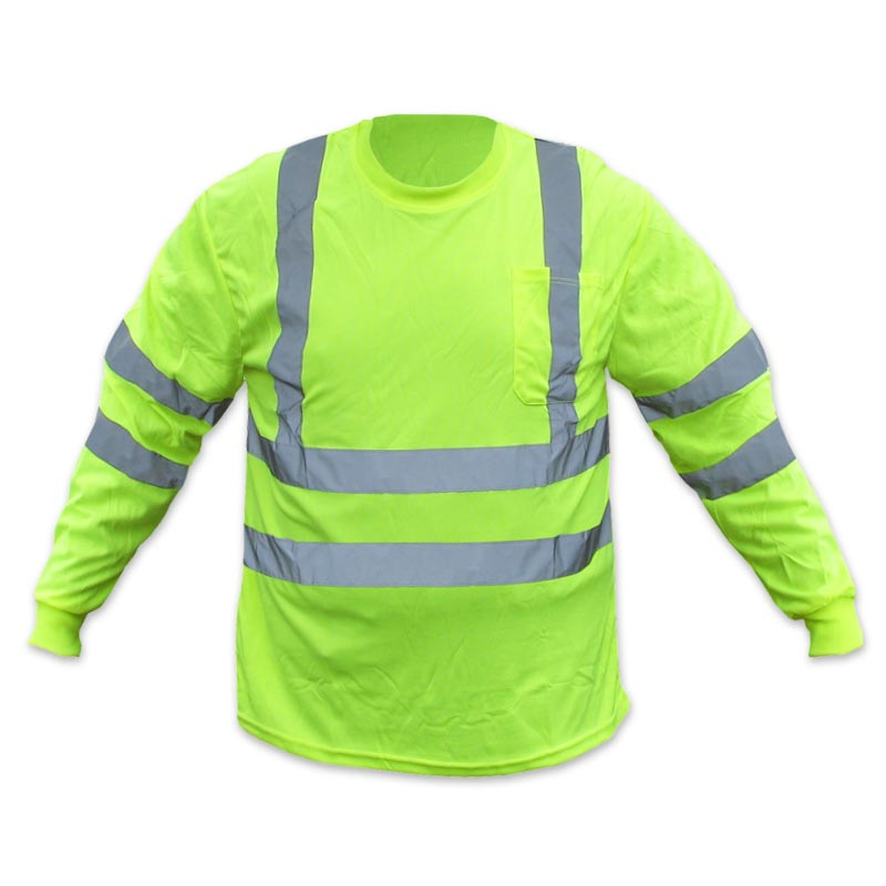 Forester hi vis class 3 long sleeve t shirt safety green for Hi vis shirts with reflective tape