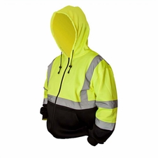Forester Single Weight Class 3 Hi-Vis Zippered Hooded Sweatshirt w/ Drawstring