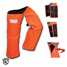 Forester Wrap Around Slap Chap Velcro Chainsaw Chaps - Orange