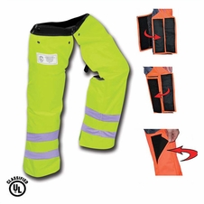 Forester Wrap Around Slap Chap Velcro Chainsaw Chaps - Safety Green