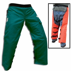 "Forester 37"" Wrap Around Chainsaw Chaps - Forest Green"
