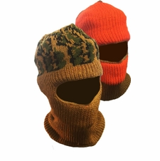 Soft Full Face Mask Reversible Orange/Brown Balaclava