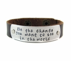Be The Change Leather Cuff
