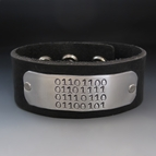 Binary Code Love - Men's Leather Cuff Bracelet