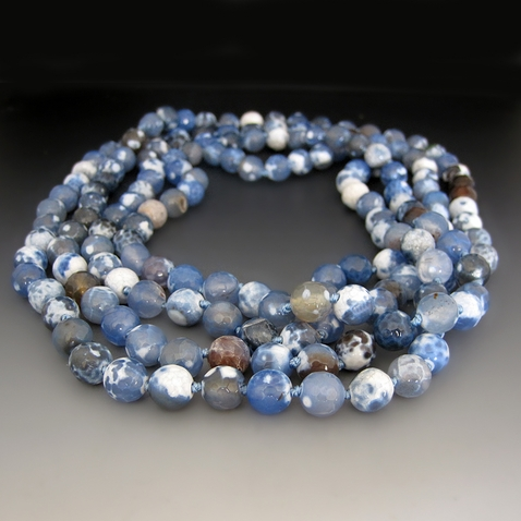 Long Blue Agate Gemstone Necklace {60 inches}