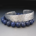 Layered Lapis Lazuli and Silver Stacking Bracelets