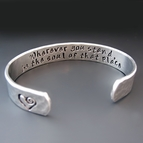 Personalized Hand Stamped 3/8 Inch Wide Silver Cuff Bracelet
