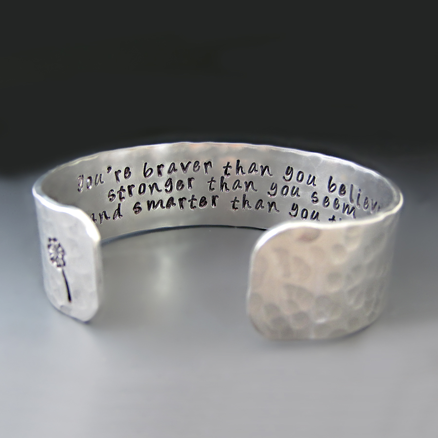inspirational believe braver robin you bracelet silver your than re christopher