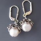 Large White Freshwater Pearl & Sterling Silver Earrings