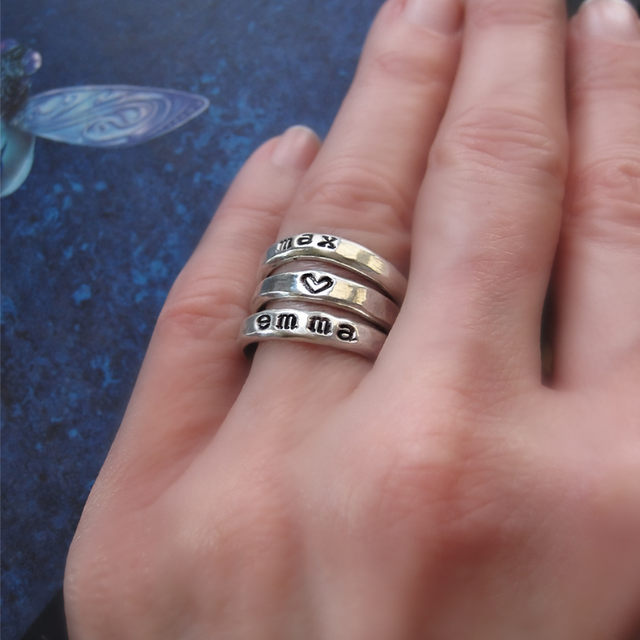 Close To My Heart -Silver Name Rings