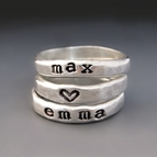 Close To My Heart - Sterling Silver Stacking Name Rings