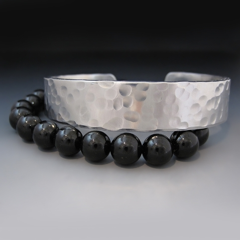 Custom Black Onyx and Silver Stacking Bracelets