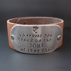 Custom Hand Stamped Leather Cuff