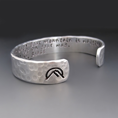 Custom Hand Stamped Silver Mountain Bracelet