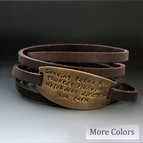 PERSONALIZED Skinny Leather Wrap Bracelet - Gold Plate
