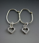 Floating Heart Earrings - Sterling Silver
