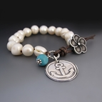 Freshwater Pearl & Leather Bracelet {Silver Anchor Charm}