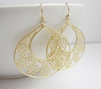 Large Gold Filigree Earrings {Keyhole Style}