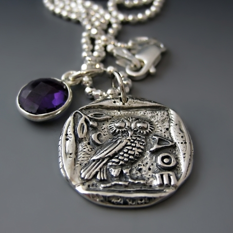 Sterling Silver Greek Athena Owl Coin Necklace