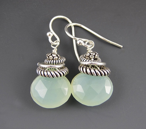 Green Gemstones - Sterling Silver Earrings