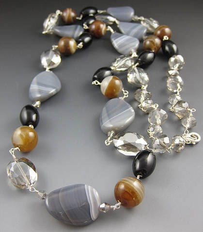 Grey Gemstone Necklace - Wire Wraped