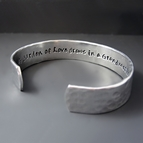 1/2 inch Hand Stamped Personalized Small Hammered Silver Bracelet