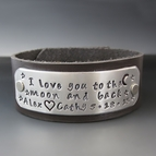 Personalized I Love You To The Moon & Back Leather Bracelet