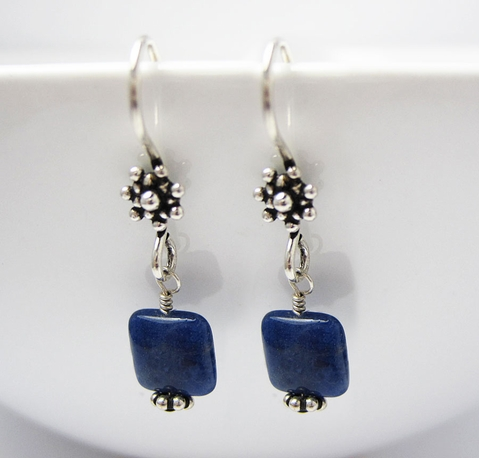 Sterling Silver Blue Lapis Lazuli Gemstone Earrings