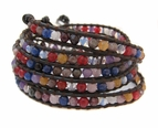 Rainbow Gemstone Leather Wrap Bracelet