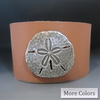 Leather Sand Dollar Cuff Bracelet