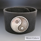Leather Yin and Yang Cuff Bracelet