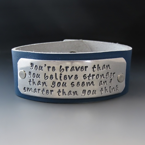 Leather You're Braver Than You Believe Cuff Bracelet