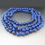 Long Blue Jasper Gemstone Necklace {60 inches}