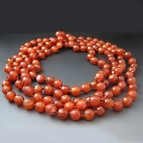 Long Faceted Orange Carnelian Gemstone Necklace {60 Inches}